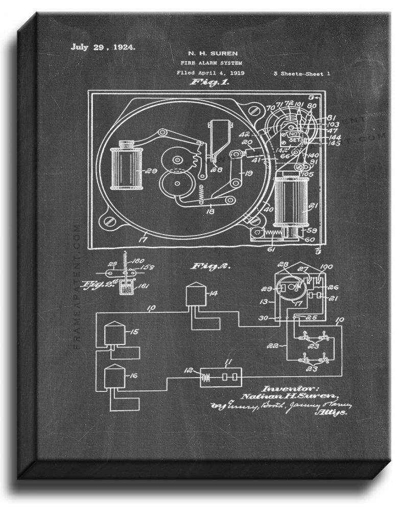Primary image for Fire-alarm System Patent Print Chalkboard on Canvas