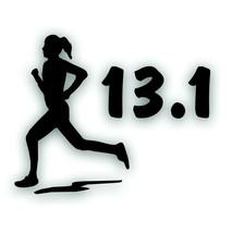 Marathon 13.1 GIRL WOMAN RUNNER running decal sticker for Olympic mile B... - $8.83