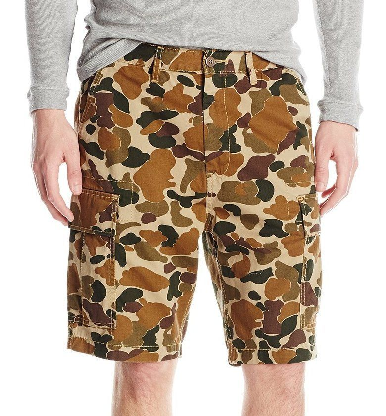 NEW LEVI'S MEN'S HARVEST GOLD DUCK CAMO TWILL CARGO SHORTS TRUNKS 232510000