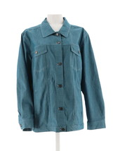 Denim & Co Stretch Colored Long Slv Jean Jacket Pockets Dark Teal L NEW A87003 - $29.68