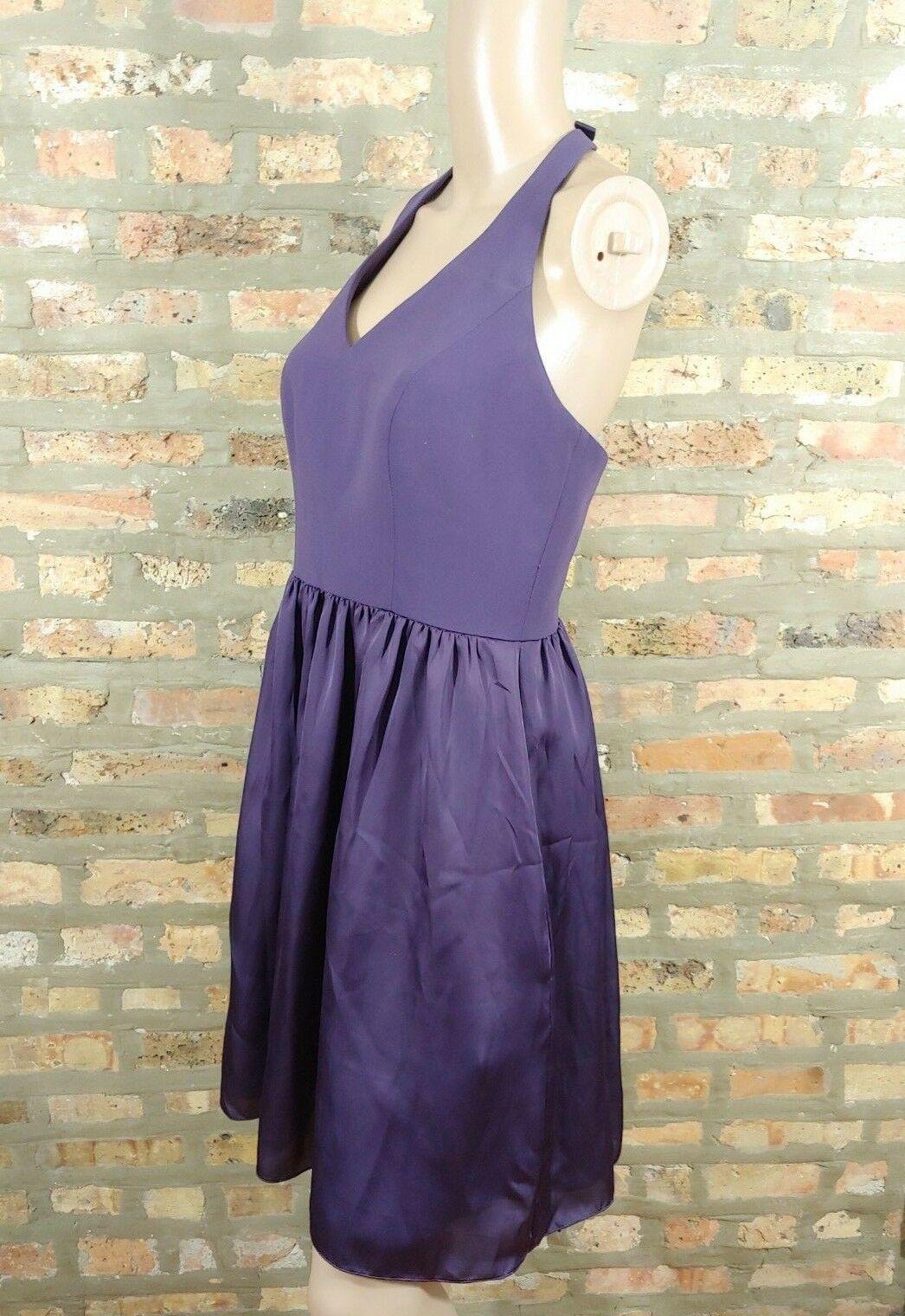 WHITE By Vera Wang Amethyst Purple V-neck Halter Fit & Flare Bridesmaid Dress 6