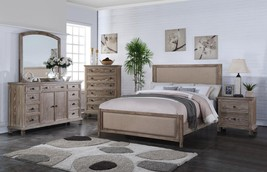 MYCO Furniture LS5585-Q La Salle Rustic Aged Oak Fabric Queen Bedroom Set 4Pcs