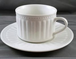 Oneida Athena Tea Coffee Cup and Saucer White Stoneware Majesticware 8 oz - $16.83