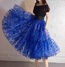 Pink Polka-Dot Puffy Tutu Skirt Outfit A-line Layered Plus Size Puffy Midi Skirt image 7