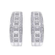 1.50 Carat Round and Princess Diamond Hoop earrings 14K White Gold - $1,187.01