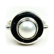 Natural Birthstone Pearl Statement Ring Sterling Silver Handcrafted Size... - $28.02