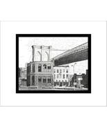 The Brooklyn Side, Brooklyn Bridge, Pen and Ink Print - $24.00