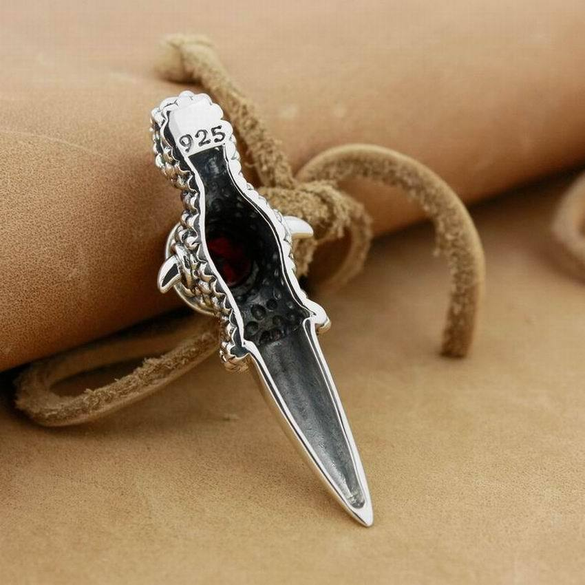 LINSION 925 Sterling Silver Huge Dragon Claw White CZ Pendant Necklace for Mens image 6