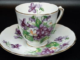 Tuscan demitasse cup & saucer Violets and gilt on white excellent condition - $18.00