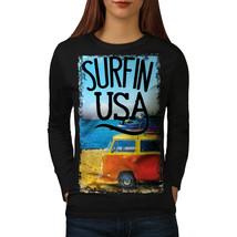 Surfin USA Poster Tee Summer Beach Women Long Sleeve T-shirt - $14.99