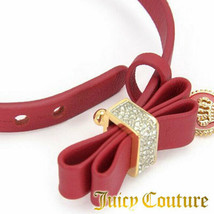 Juicy Couture Bracelet Leather Crystal Bow Coin Charm NEW - $37.62