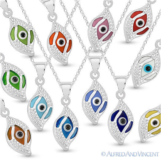 Evil Eye Glass Bead Greek Turkish Nazar Hamsa Pendant Sterling Silver Necklace