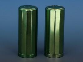 Vintage Novelty Salt & Pepper Shaker Set Machined Aluminum Green Annodized image 1