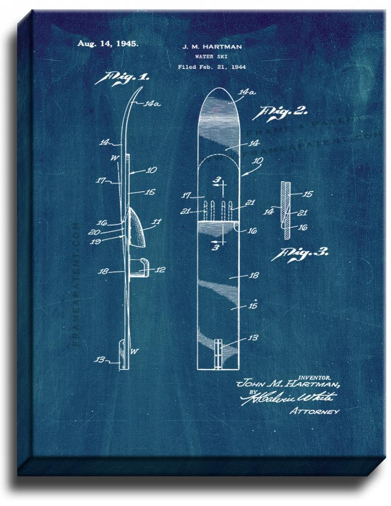 Primary image for Water Ski Patent Print Midnight Blue on Canvas