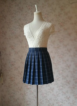 NAVY Blue PLAID Skirt Pleated Plaid Skirt School Mini Plaid Skirt US0-US16 image 3