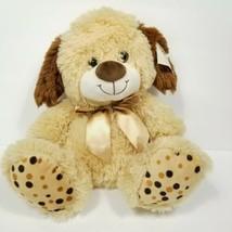 "Puppy Dog Polka Dot Feet Tan & Brown Plush Stuffed Animal 12"" Gold Ribbon w Tags - $18.80"