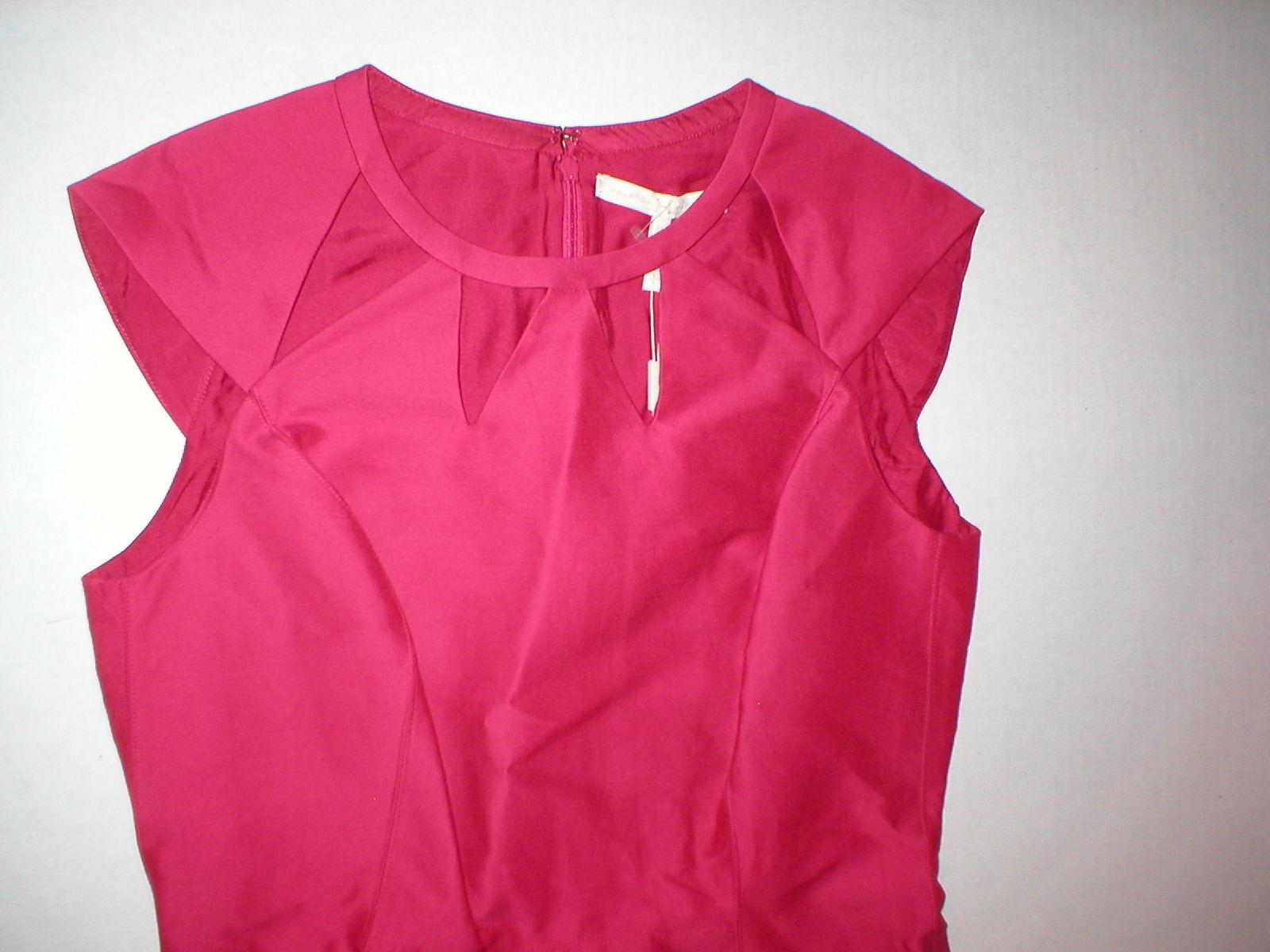 New $495 Womens Halston Heritage 6 Dress Designer Dark Pink NWT Cut Out Neck image 5