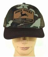 Vtg John Deere Brown Camo Mesh Snapback Trucker Farm Hat Baseball Cap Ad... - $49.49