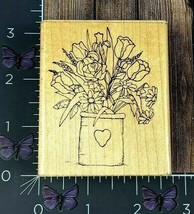 Dots Small Spring Bouquet Flowers Rubber Stamp N197 Tulips Vase Crock #A... - $3.71