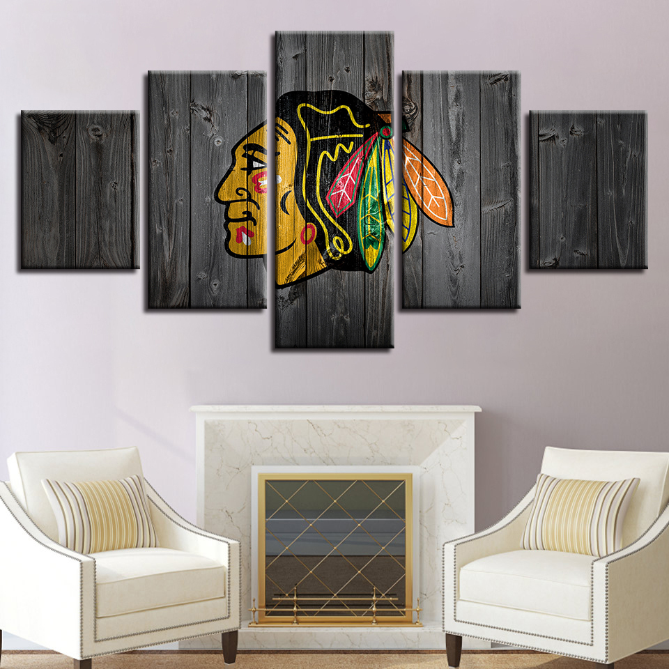 framed 5 piece chicago blackhawks hockey hd printed canvas wall art home decor posters prints. Black Bedroom Furniture Sets. Home Design Ideas