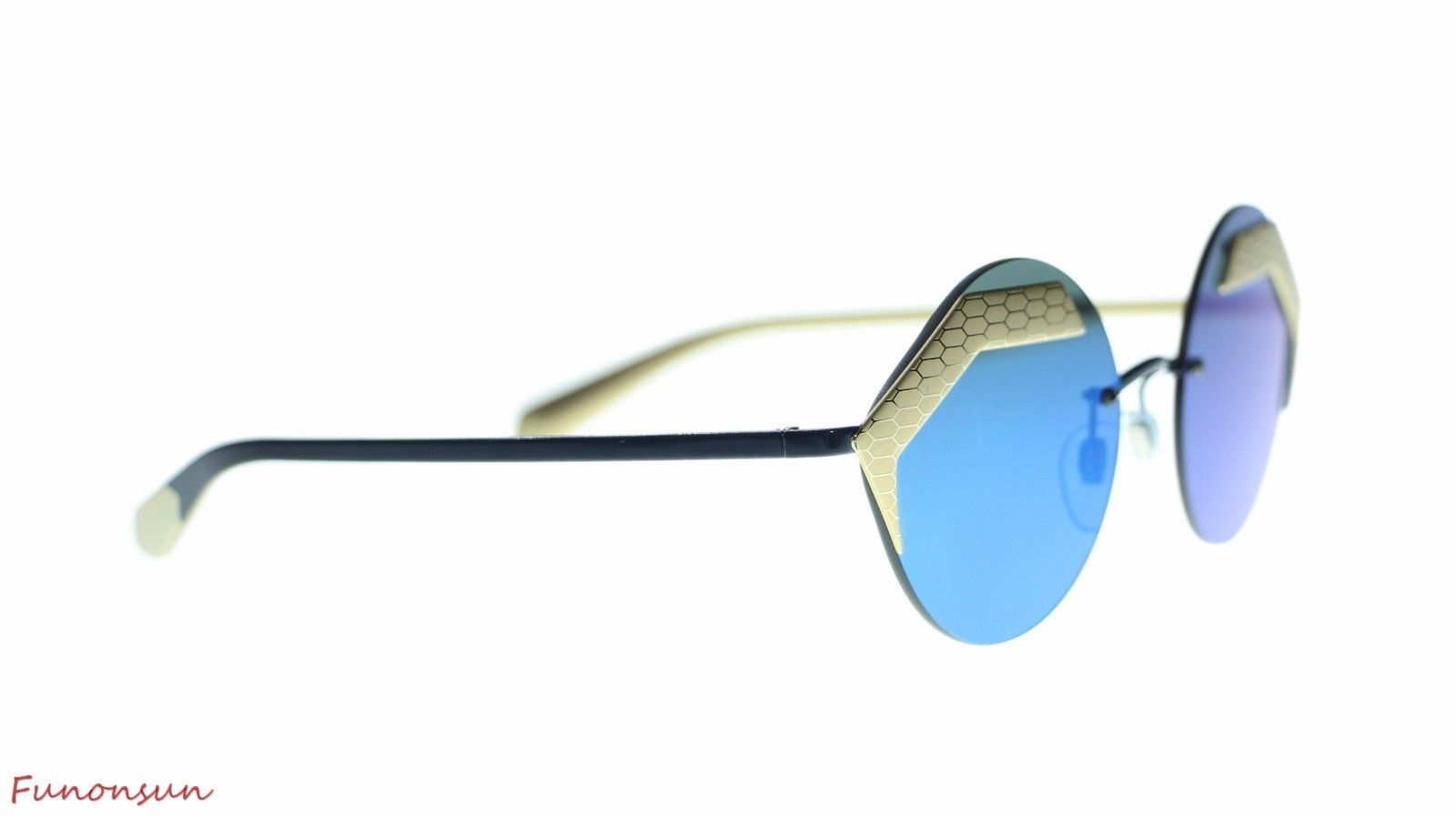 BVLGARI Women's Round Sunglasses BV6089 202255 MT Pale Gold/Blue Lens 55mm