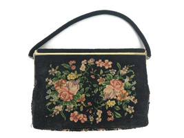 Vintage Mid Century Beaded Tapestry Floral Handbag Purse Goldtone Metal ... - $51.43