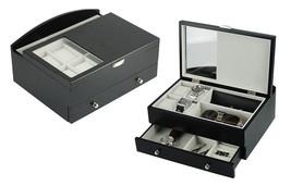 Top quality Executive Mens Black Wood Valet Storage Organizer Men's Jewe... - €71,78 EUR