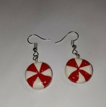 Peppermint Candy Earrings Silver Wire Christmas Charm Candy Striped - $6.50