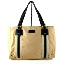 Auth Burberry London Blue Label Beige Nylon Brown Leather Semi Shoulder Hand Bag - $147.51