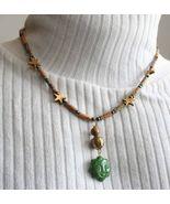 Judy Strobel Carved Green Jasper Sun Face & Stars Necklace - $29.95