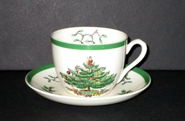 Spode Christmas Tree Cup and Saucer England Green Trim 12 Available - $5.25