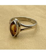 Sterling Silver Citrine Ladies Ring Size 6.5 Jewelry .925 Vintage Estate... - $23.70