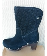 Womens Ugg Lynnea Arroyo Black Suede Woven Wooden Clog Boots Size 9 with... - $98.99