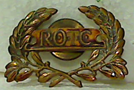 Vintage ROTC Screwback Bronze Officer's Hat Crest Badge - $4.00