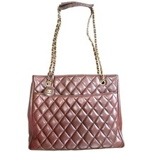Vintage CHANEL brown quilted lamb leather classic tote bag with gold tone chains - $1,228.00
