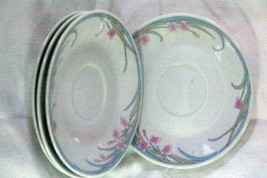 Gibson Pink Flowers Blue/Gray Leaves Set Of 4 Saucers - $4.84