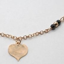 "925 STERLING ROSE SILVER ""LE FAVOLE"" BRACELET HEART PENDANT, WATCH, BLACK SPINEL image 2"