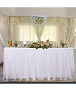 White Flower Tulle Table Skirt 9ft Rectangle or Round Tables Skirt with ... - $21.49