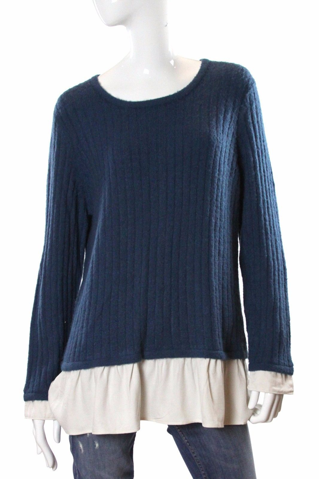 Kensie Long Sleeve Ribbed Sweater Layered Look Blue/Ivory NWT
