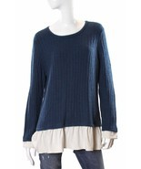 Kensie Long Sleeve Ribbed Sweater Layered Look Blue/Ivory NWT - $29.74