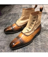 Handmade Tan Leather Button Chelsea Custom Made Dress Boots For Men - $179.99+