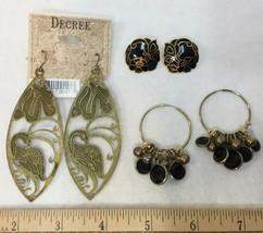 Earrings Pierced Dangle & Post Black & Gold Tone Metal Stones 3 Pairs Vi... - $14.84