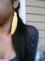 Gold Feather Earrings Bohemian Earrings Large Gold Feather Earrings - $36.00