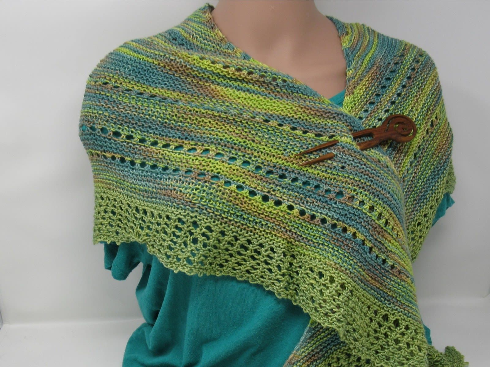 Handcrafted Knitted Shawl Green/Teal Lace Female Adult Greens Striped