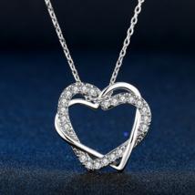 Double Fair Love Heart Cubic Zirconia Necklaces & Pendants Wedding Jewel... - $9.99