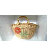 Rolf's Vintage  Flower & Sparkles Woven Purse Bamboo Wooden Handles Hand... - $9.99