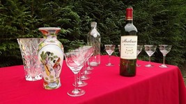 Lot french glasses wine pitcher jug glass art nouveau vase japan porcelain - $90.00