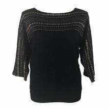 CHAPS Top Sweater 1X Plus Black Gold Bronze Silver Metallic Aztec Design NEW $75 - $43.54