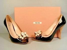 Miu Miu Prada 37.5 Black Patent Peep Toe Crystal Classic Elegant Pumps Heels NEW - $466.57