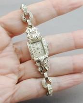 14k White Gold Art Deco Ladies Wittnauer Wrist Watch Diamond Case & Band - $800.00